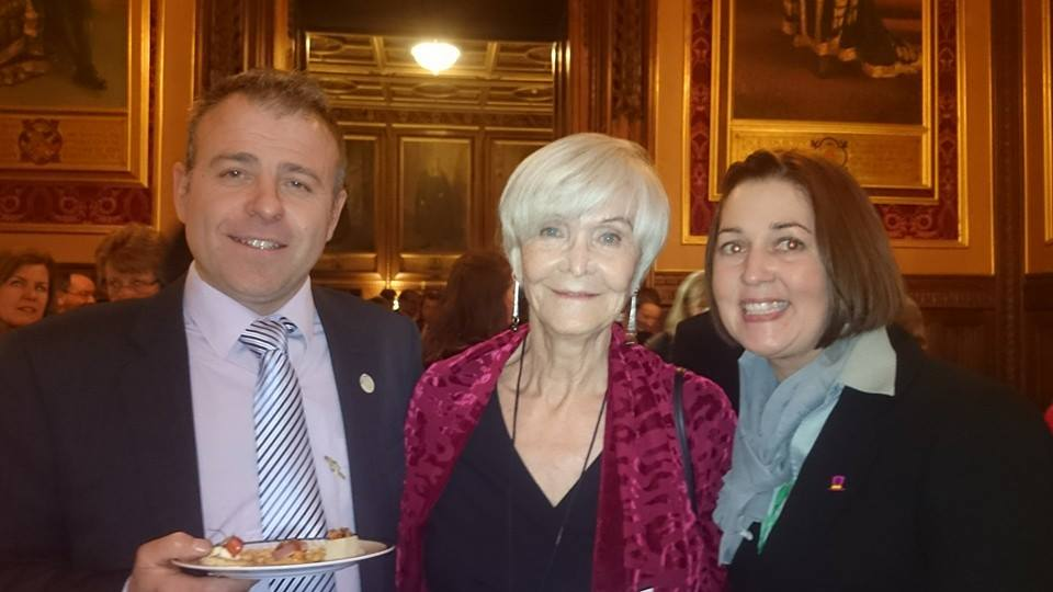 Nicole and Phil Phillips with actress Sheila Hancock at the House of Commons
