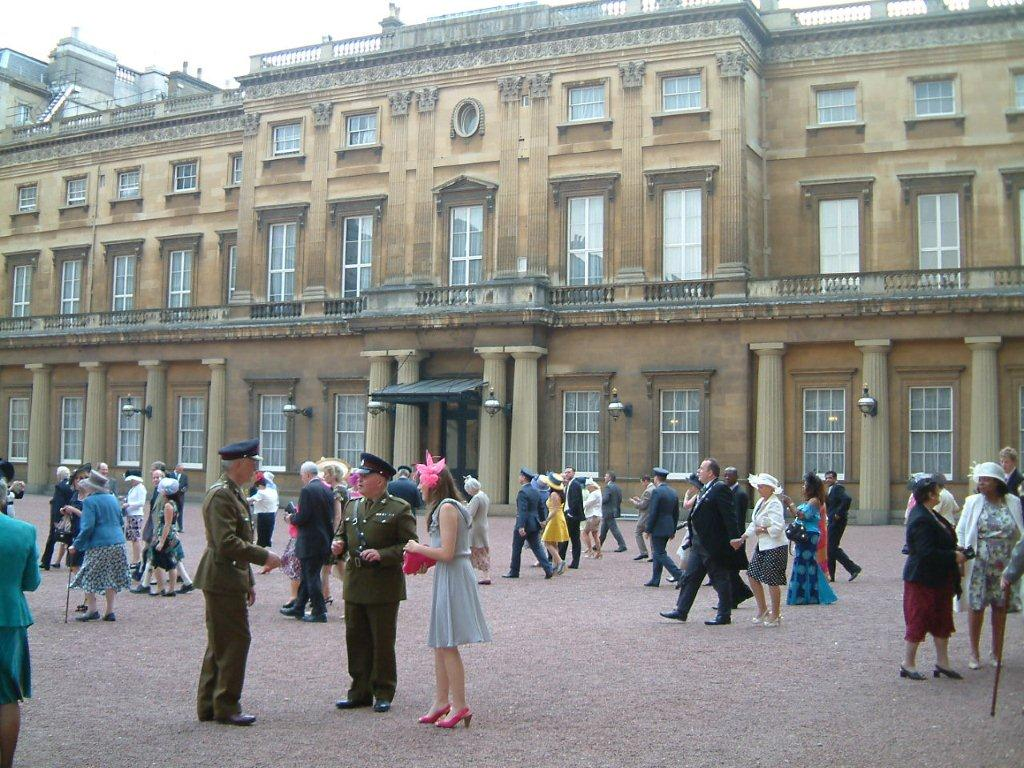The imposing inner courtyard at Buckingham Palace